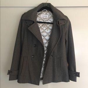 Calvin Klein Double-Breasted Wool Coat w/ Hood